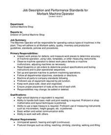machine operator responsibilities resume sle machine operator description 8 exles in pdf