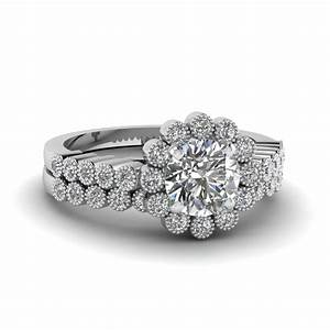 round cut milgrain bezel set floral diamond bridal wedding With round cut wedding ring sets