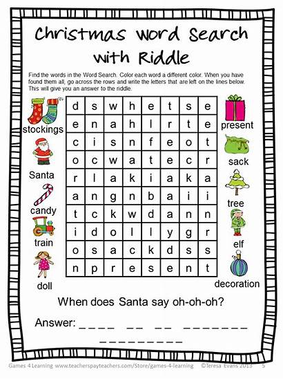 Christmas Games Literacy Puzzles Fun Worksheets Words