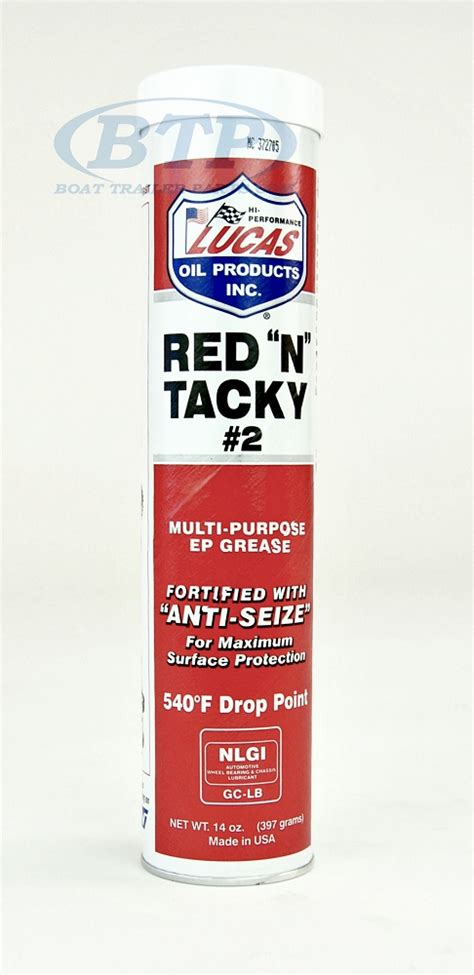 lucas red  tacky trailer wheel bearing grease tube