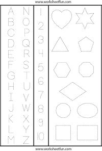 letters numbers  shapes tracing worksheet tons