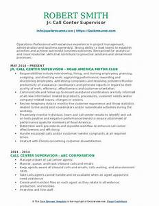 Resume Objective For Business Administration Call Center Supervisor Resume Samples Qwikresume