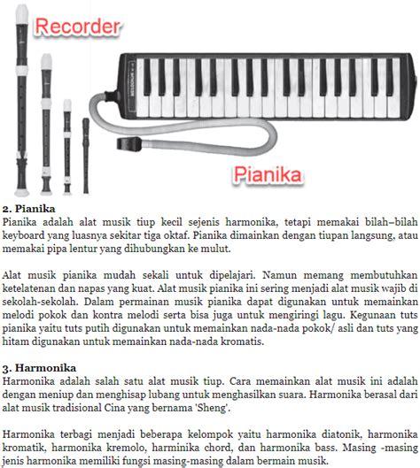 Alat musik melodi dapat dimainkan dalam beberapa cara, termasuk dengan mengangkat, meniup, menekan, mengayun, menyeka alat musik pianika juga merupakan contoh dari alat musik melodi. Mengenal Alat Musik Melodis Modern - Solidar Aslaemi