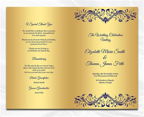 wedding dinner program templates psd ai