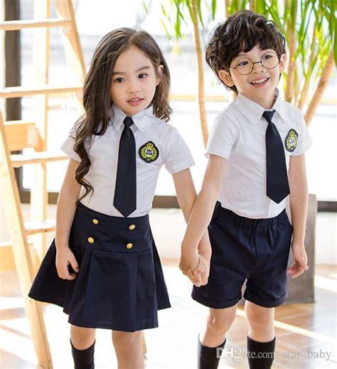 2018 2017 New Kids School Uniform Dress Set Set Necktie Girl White Skirt + Short Skirt Boys ...