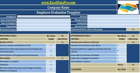 employee evaluation form exle free hr templates in excel