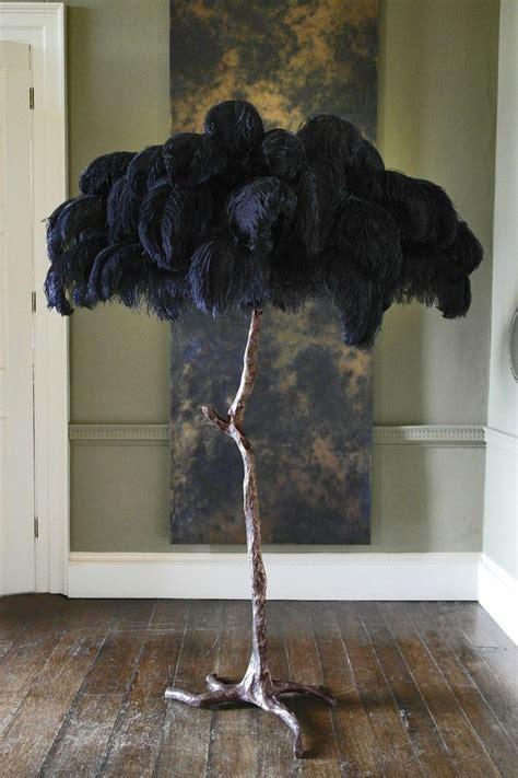 ostrich feather lamp  bronze dipped base becker