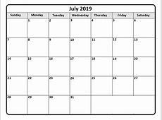 Download July 2019 Calendar – Printable Blank & Editable