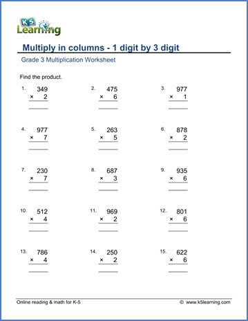 Grade 3 Math Worksheets Multiply 1 By 3digit Numbers In Columns  K5 Learning
