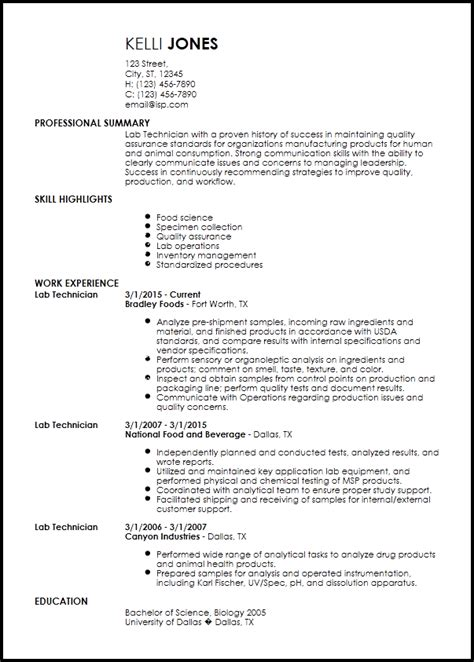 free entry level lab technician resume templates resumenow