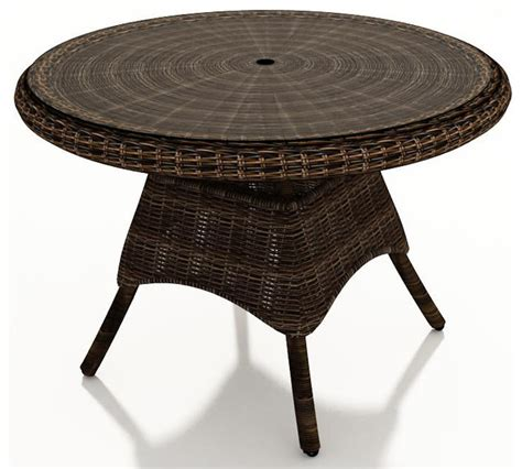 round glass top outdoor table leona 42 in round wicker dining table mocha wicker