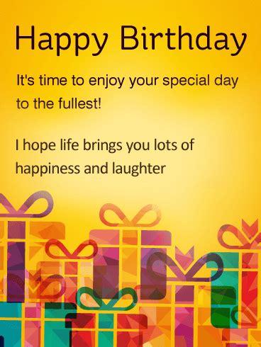 time  enjoy special day happy birthday wishes card birthday greeting cards  davia
