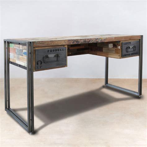 bureau bois de bureau 120cm en bois recyclés de bateaux 2 tiroirs métal