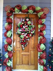 Front, Door, Decorations, With, Floral, Mesh, Ribbon