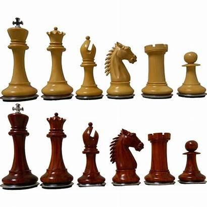 Chess Pieces Conqueror Staunton Bases Padouk Steel