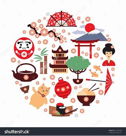 Japan Clipart Travel Symbols Vector Icons Traditional