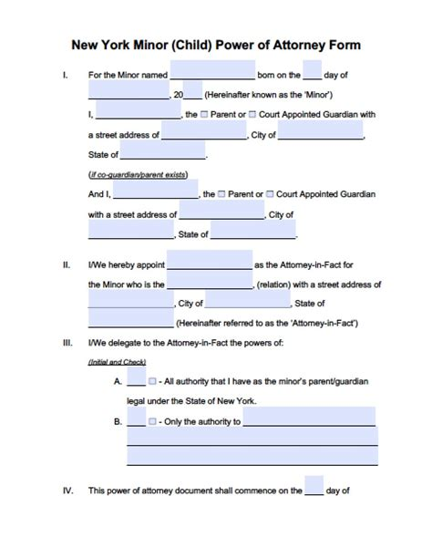 new york minor child power of attorney form power of attorney power of attorney