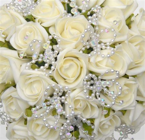 ivory rose wedding bouquet  handmade bead pearl