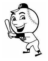 Met Mr Baseball Coloring Cartoon Pages Mascot Tarp Yankee Template Take sketch template