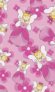 Cute Pink Fairy Princess Repeat Pattern On Floral ...