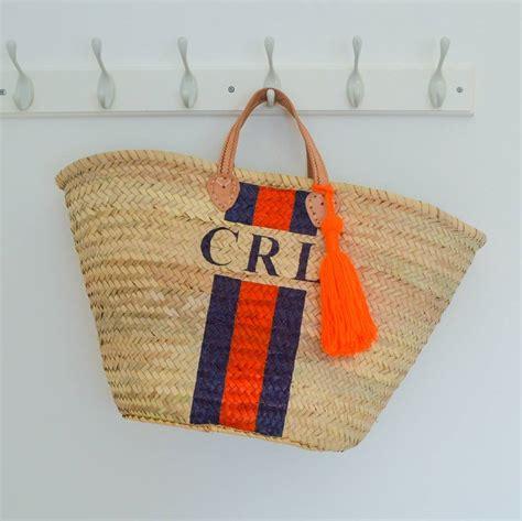 monogram stripe straw basket short leather handles  roam devon notonthehighstreetcom