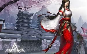 Video, Games, Mountains, Cherry, Blossoms, Text, Long, Hair, Buildings, Miko, Pagodas, Mmorpg, Priestess