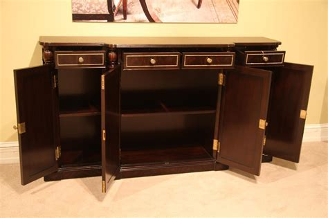 Ebony and Brass Dining Room Sideboard. Narrow Buffet Cabinet