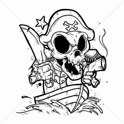 Pirate Skeleton Sketch Boat Vector Drawing Hat