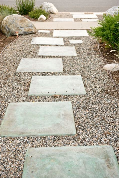 colored concrete stepping stones outside decor