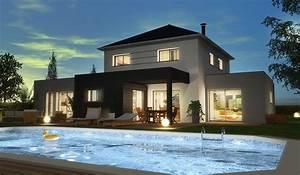 maison contemporaine a etage 178 m2 5 chambres With charming modele de maison en l 1 maison moderne en u