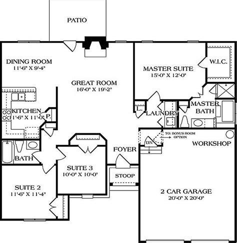 European Style House Plan 3 Beds 2 Baths 1400 Sq/Ft Plan