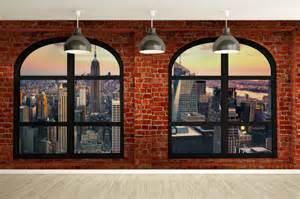 Papier Peint Brique New York by Fen 234 Tres Sur Mur De Briques Rouges Avec Vue Sur La Grosse
