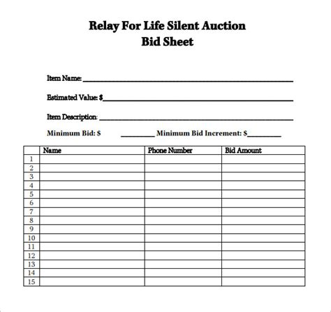 silent auction bid sheet samples sample templates