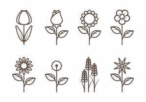 Flower Outline Vectors - Download Free Vector Art, Stock