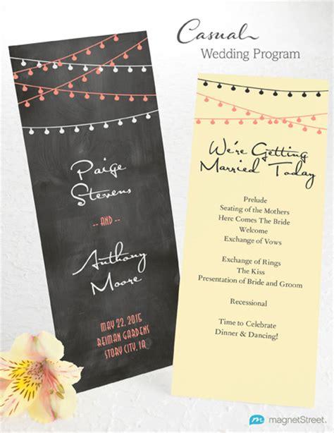 non traditional wedding reception program ideas wedding program wording magnetstreet weddings