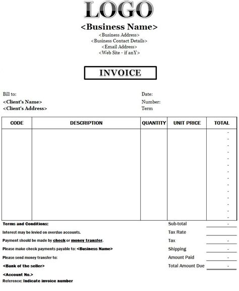 business invoice template printable paper invoices