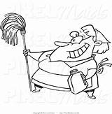 Coloring Cleaning Outline Clipart Leishman Maid Ron Housekeeping Clip Royalty Female Housekeeper Pixelmaids sketch template