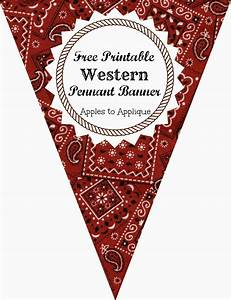 free printable western themed pennant banner includes all With party banner letters