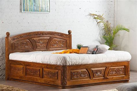 buy solid wooden carving czar bed  storage