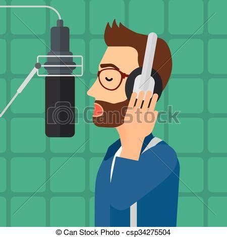 singer making record  hipster man  headphones making