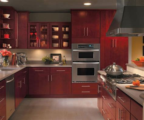 Burgundy kitchen cabinets by Homecrest Cabinetry   Paint