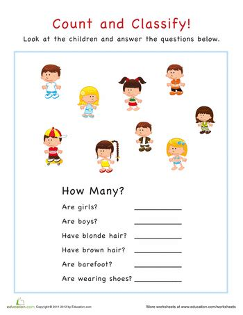 count  classify kids worksheets kids education  math