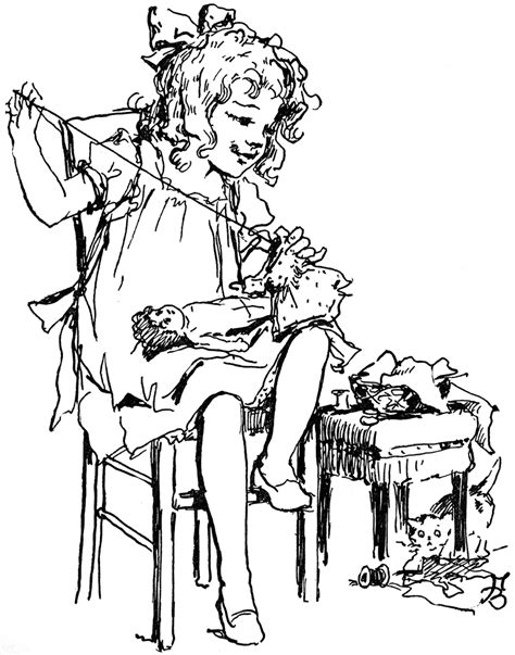 Girl Sewing Doll Clothing   ClipArt ETC