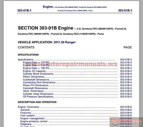 ford ranger  workshop manual auto repair manual
