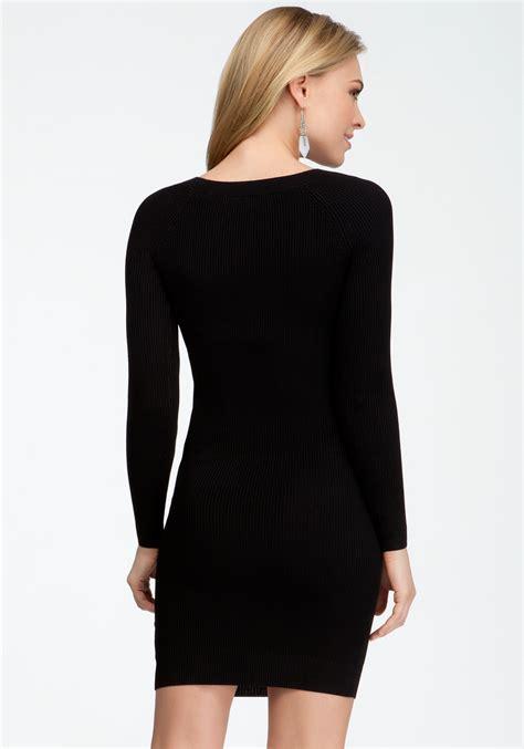 Bebe Long Sleeve Crew Neck Sweater Dress in Black | Lyst