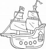 Clipart Pirate Ship Clip Coloring Outline Boat Cartoon Pirates Transparent Boats Template Bateau Sweet Line Transport Barco Blanco Negro Sailing sketch template
