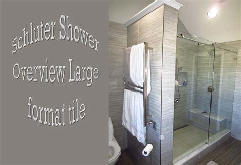 schluter bathroom large format tile linear drain heated