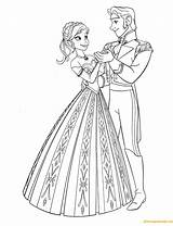 Hans Prince Anna Dancing Coloring Printable sketch template