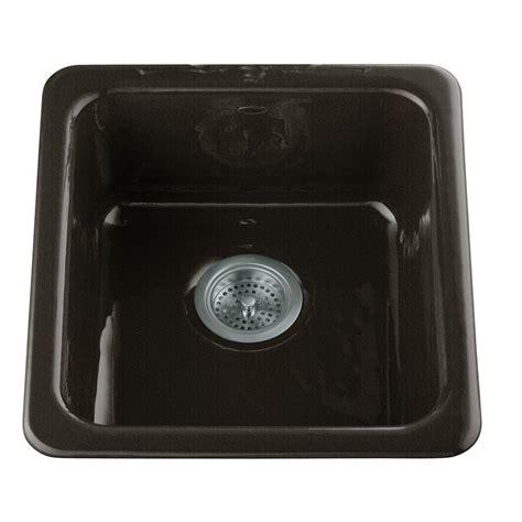 black cast iron kitchen sink kohler dual mount cast iron 17 in single basin kitchen 7865