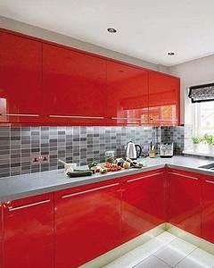 Muebles, De, Cocina, En, Laca, Roja, Brillante, Cocinasmodernas